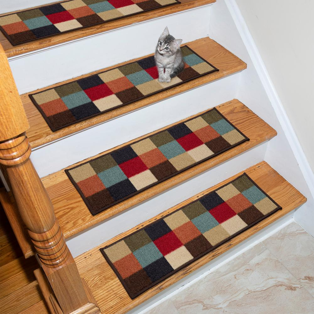 Ottomanson Ottohome Collection Multicolored 9 in. x 26 in. Rubber Back Stair Tread (Set of 7)