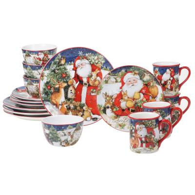 Magic Of Christmas Santa 16pc Multicolored Earthenware Dinnerware Set (Service for 4)