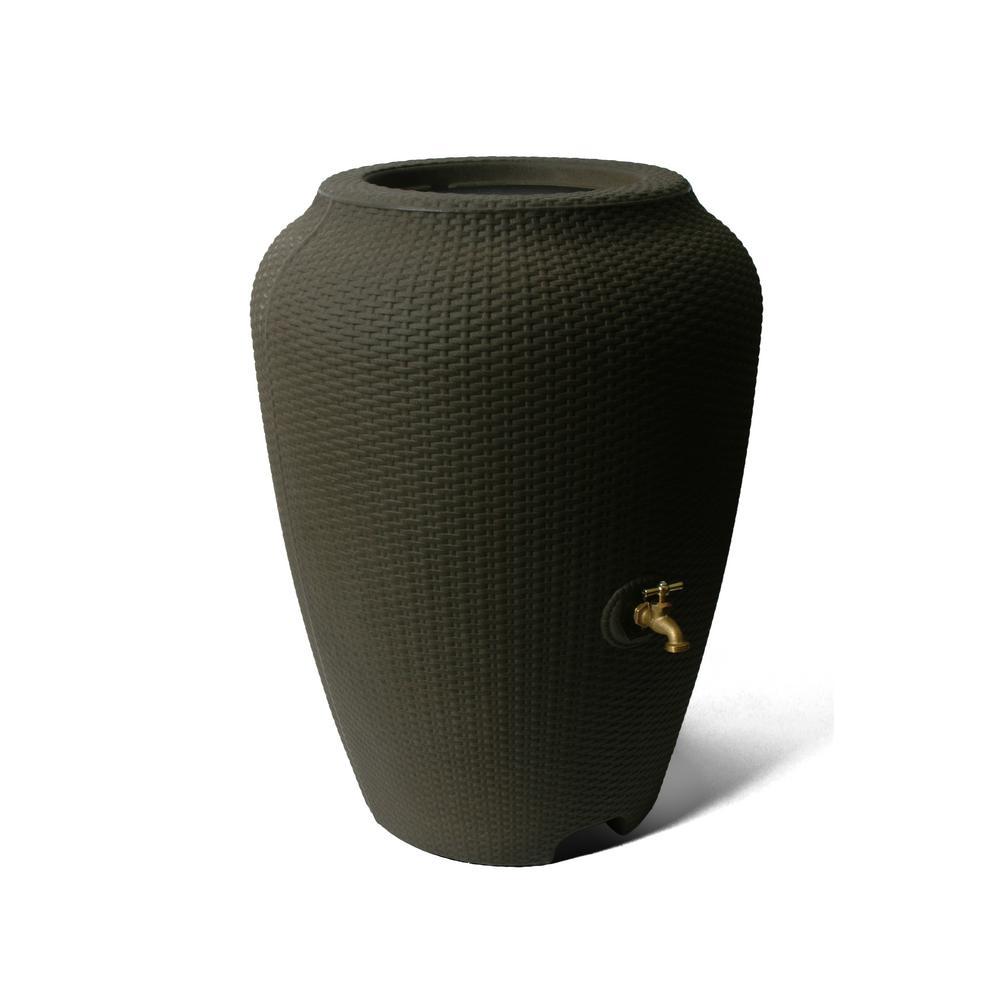 Wicker 50 Gal. Brownstone Rain Barrel