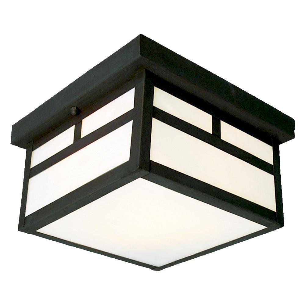Negron 2-Light Outdoor Black Flush Mount