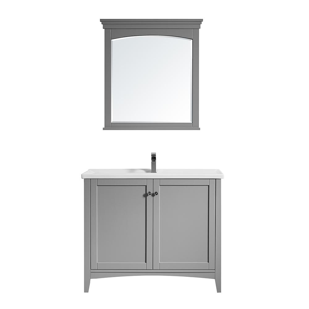 ROSWELL Asti 40 in. W x 18 in. D x 33 in. H Bath Vanity in Grey with Ceramic Vanity Top in White with White Basin and Mirror