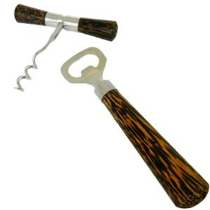 Coconut Wood Corkscrew and Bottle Opener 2 Piece set by