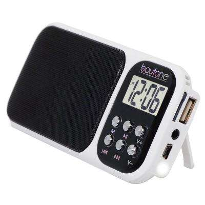 BT-92 Portable Alarm Clock Radio, White