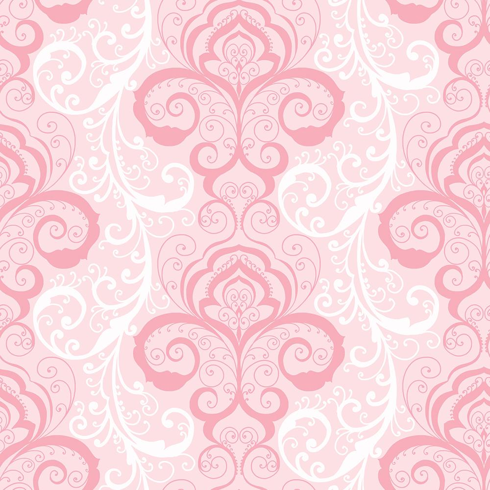 Chesapeake Vanessa Pink Henna Brocade Wallpaper Sample