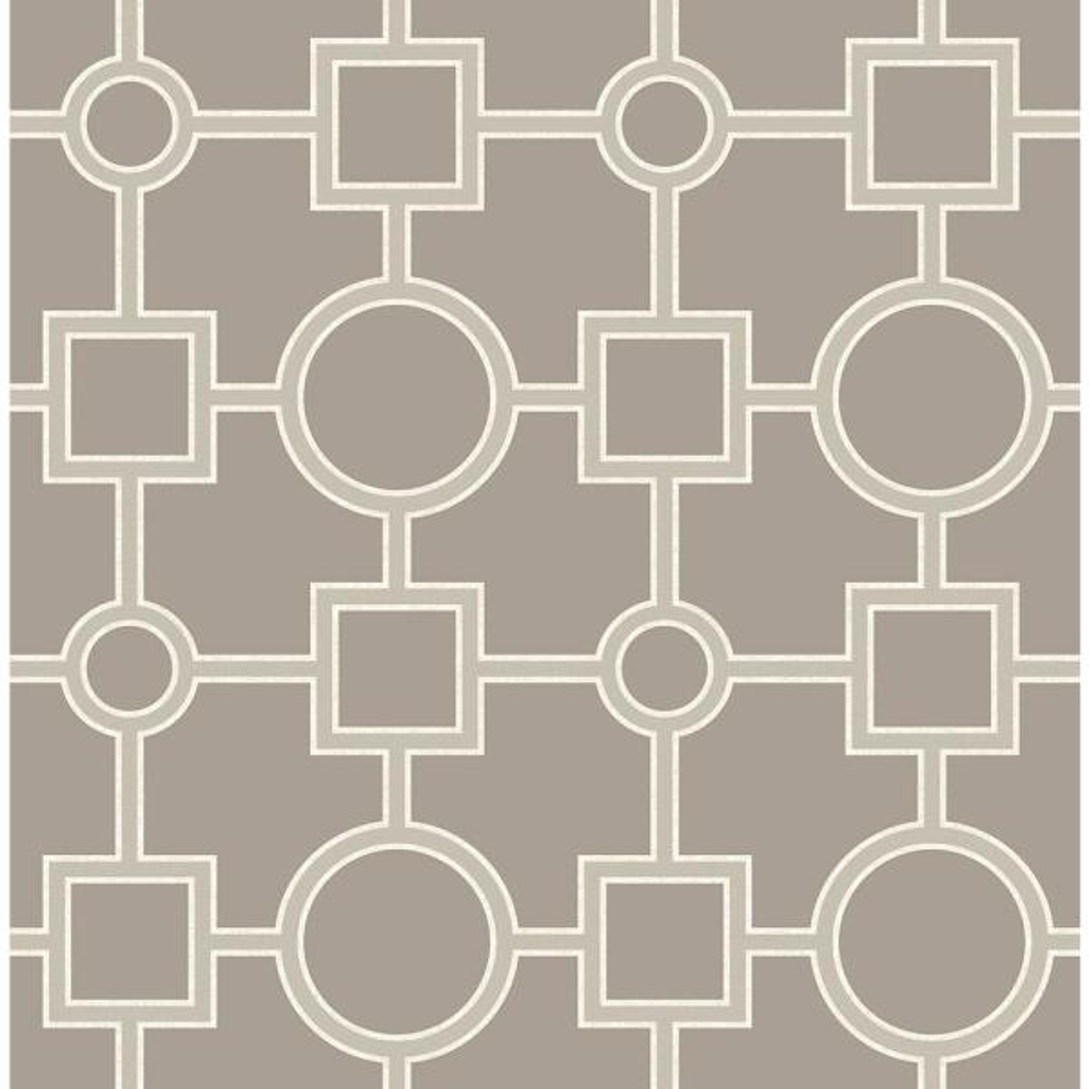 A-Street Matrix Taupe Geometric Wallpaper Sample 2625-21810SAM