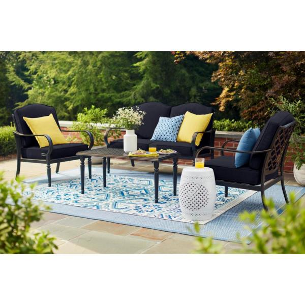 Laurel Oaks 4-Piece Brown Steel Outdoor Patio Conversation Seating Set with CushionGuard Midnight Navy Blue Cushions