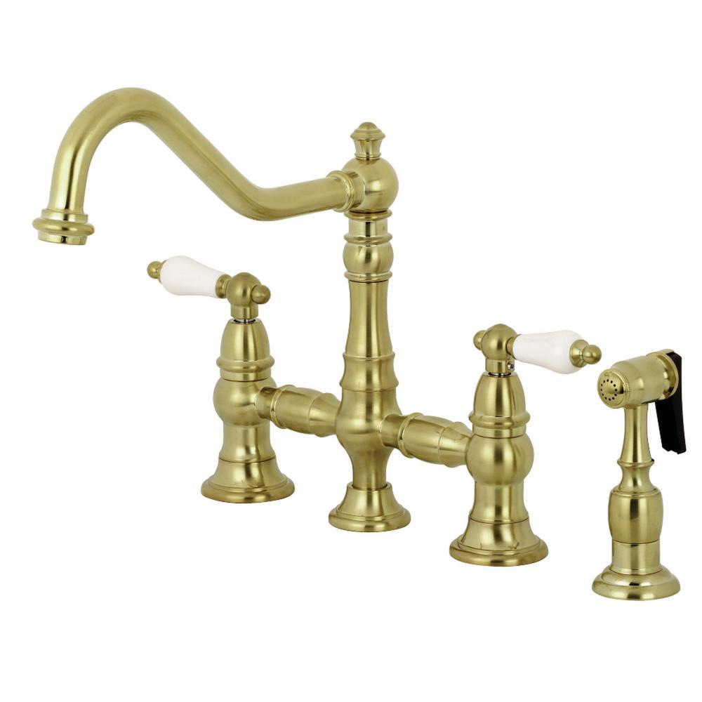 Restoration 2-Handle Bridge Kitchen Faucet with Side Sprayer in Satin Brass
