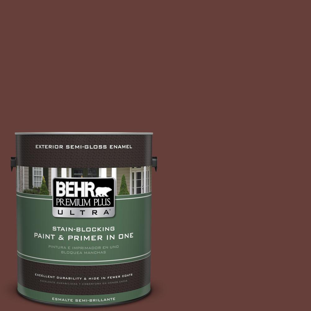 BEHR Premium Plus Ultra 1-gal. #PPU2-1 Chipotle Paste Semi-Gloss Enamel Exterior Paint