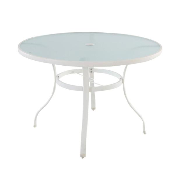 Stylewell Mix And Match White Round Glass Outdoor Patio Dining Table Fts70575w The Home Depot
