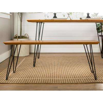 56 in. Walnut Hairpin Dining Bench