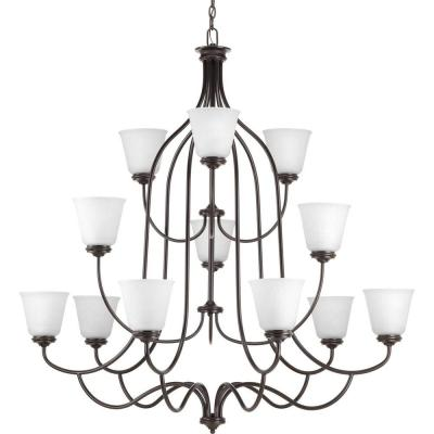 Keats Collection 12-Light Antique Bronze Chandelier with Frosted Ribbed Glass Shade