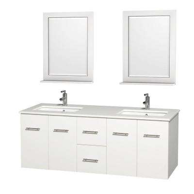 Centra 60 in. Double Vanity in White with Solid-Surface Vanity Top in White, Square Sink and 24 in. Mirror