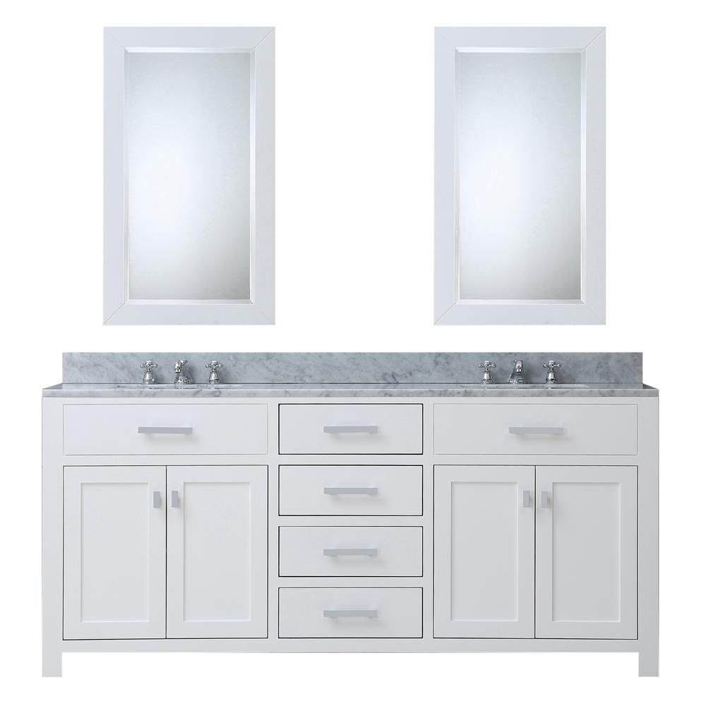 Water Creation Madison 72 in. Vanity in Modern White with Marble Vanity Top in Carrara White and Matching Mirror