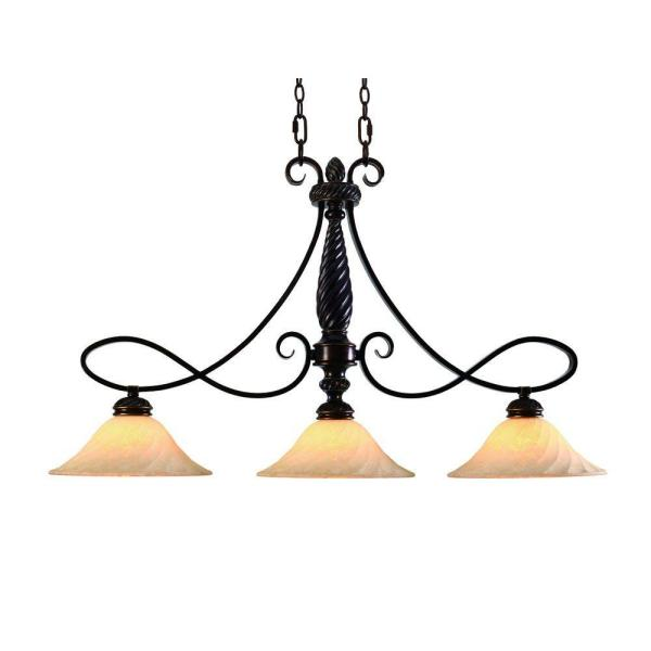 Laurent Collection 3-Light Cordoban Bronze Island Pendant
