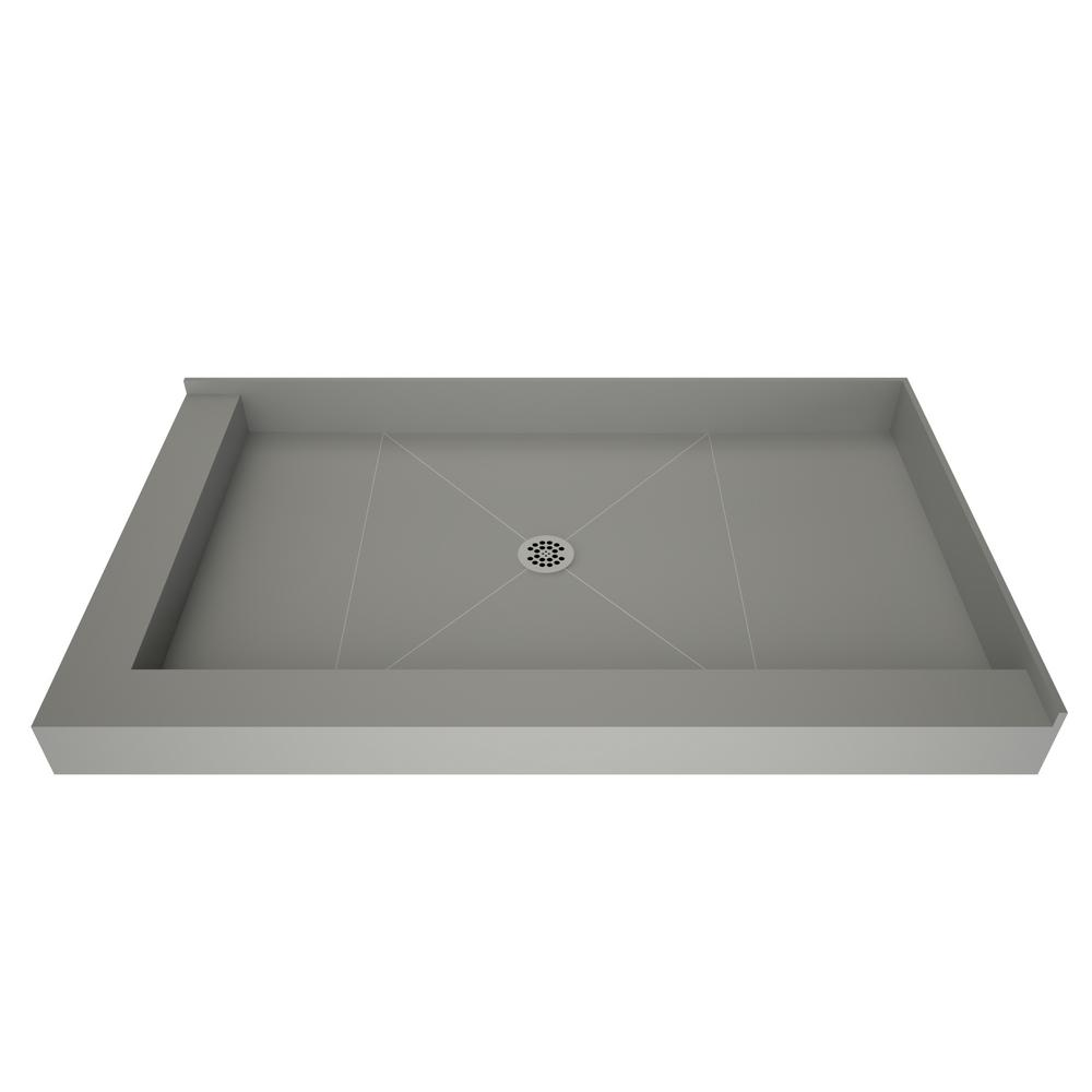 72 Inch Shower Base.Tile Redi 48 In X 72 In Double Threshold Shower Base With Center Drain In Gray