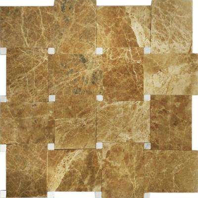 Carrera/Brown, Khaki Marble, 4 in. x 4 in. x 8 mm Stone Floor and Wall Mesh-Mounted Tile Sample