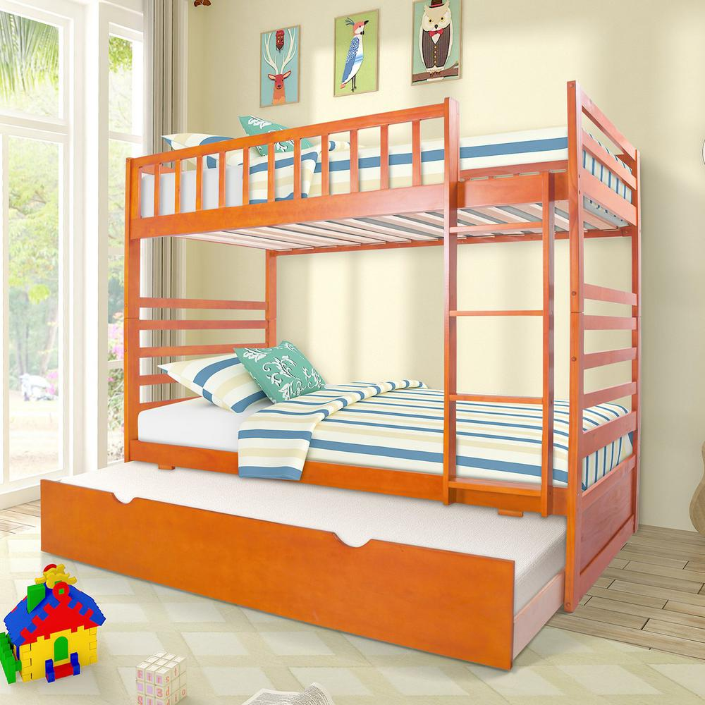 Merax Oak Twin Over Twin Solid Wood Bunk Bed With Trundle
