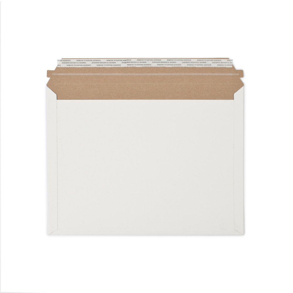 12.5 in. x 9.5 in. White Paperboard Stay Flat Mailers with