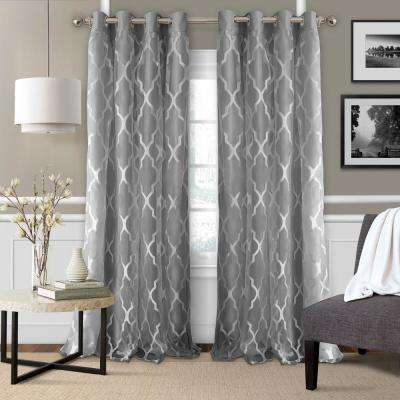 Elrene Bethany Blackout with Sheer Overlay Single Window Panel in Gray - 52 in. W x 84 in. L
