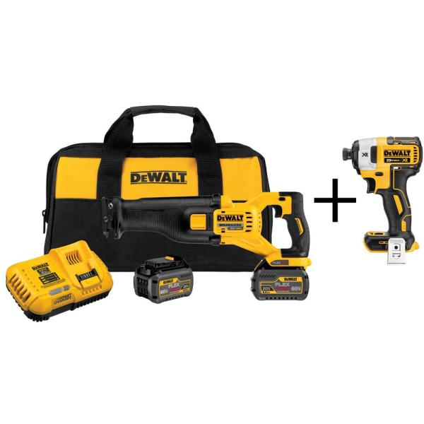 FLEXVOLT 60-Volt MAX Lithium-Ion Cordless Brushless Reciprocating Saw with (2) Batteries 2Ah and Bonus Impact Driver