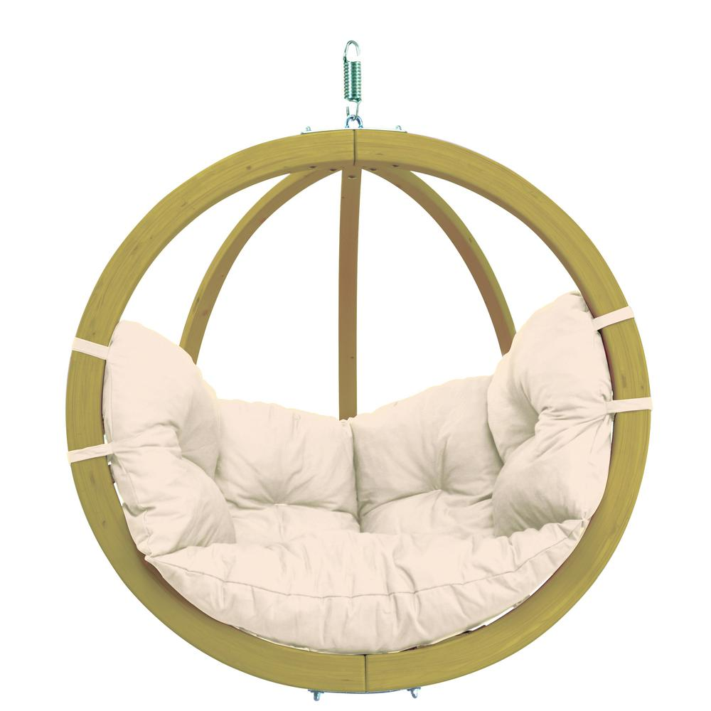 Globo Chair Single Person Laminated Spruce Patio Swing with Agora Natural