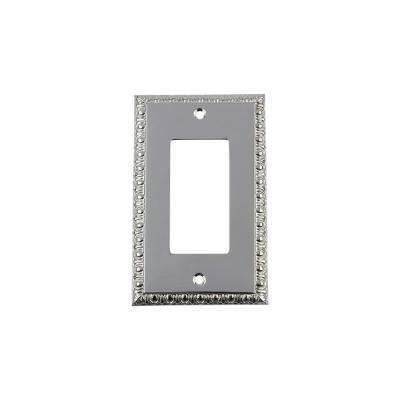Egg and Dart Switch Plate with Single Rocker in Bright Chrome