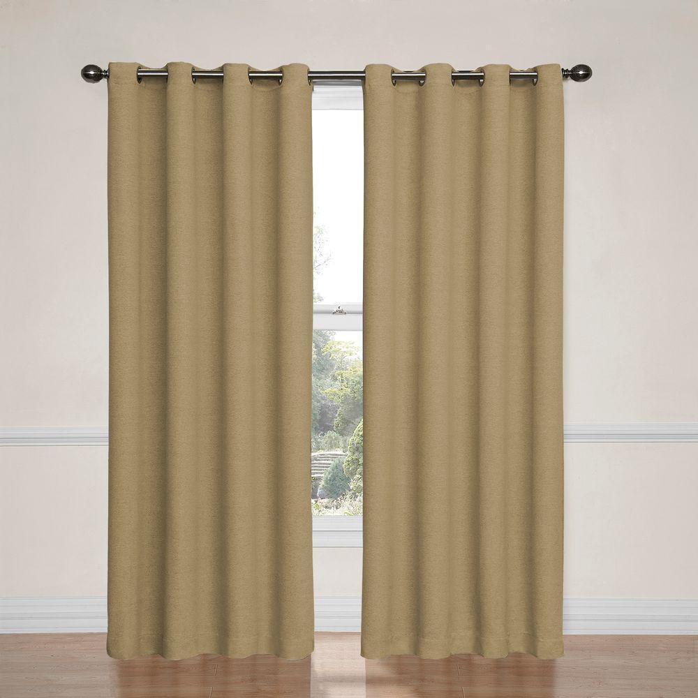 Bobbi Blackout Window Curtain Panel in Tan - 52 in. W x 84 in. L