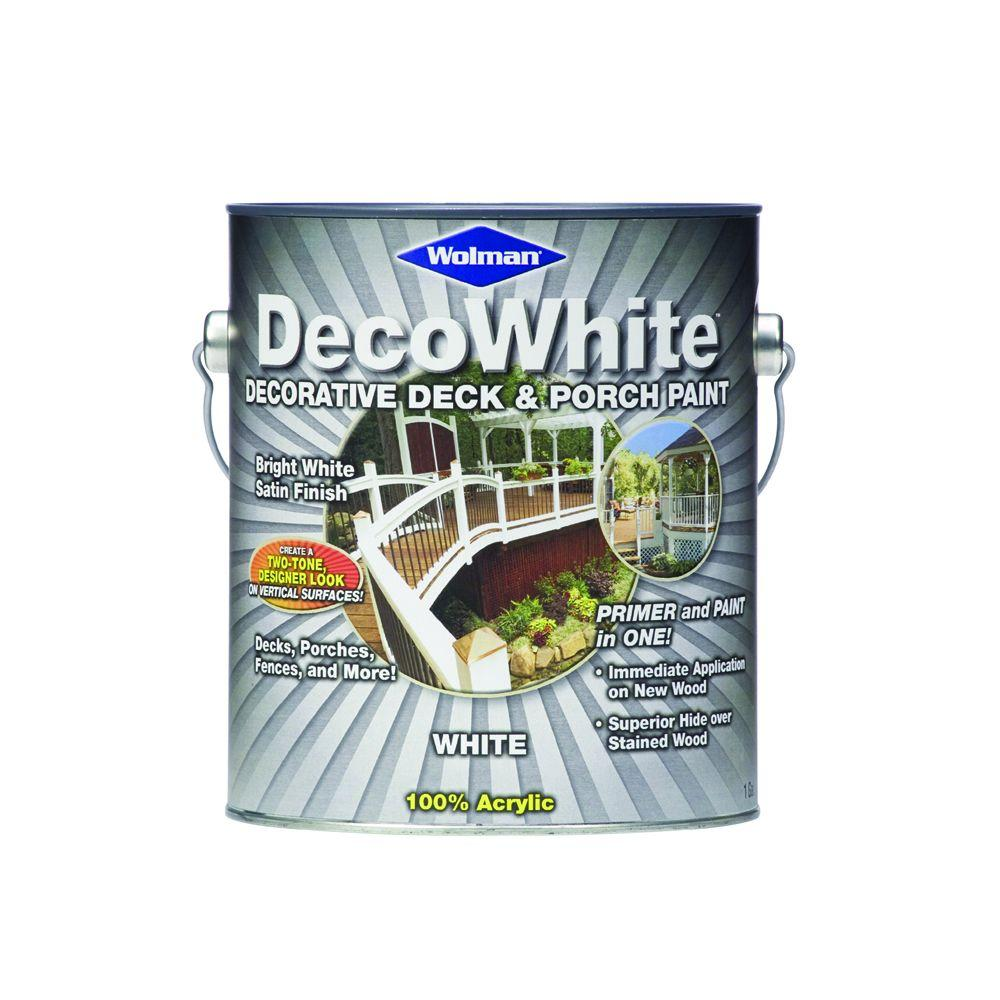 Wolman 1-gal. DecoWhite 100% Acrylic Water-Base White Decorative Deck and Porch Paint-DISCONTINUED