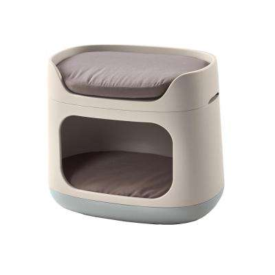 Pet Bunkbed 3-in-1 Small Sandy/Misty Blue Resin Lounge Bed, Carrier and Travel Crate
