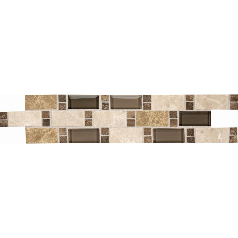Stone Decor Parallel Vision 3 in. x 14 in. Stone and Glass Decorative Accent Tile (0.25 sq. ft. / piece)