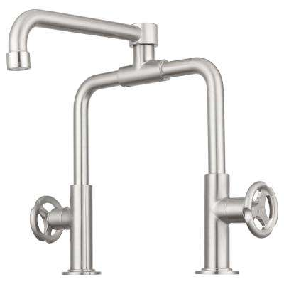 Tenino Deck Mounted Retro Pot Filler with Hot and Cold Knobs in Brushed Satin Nickel