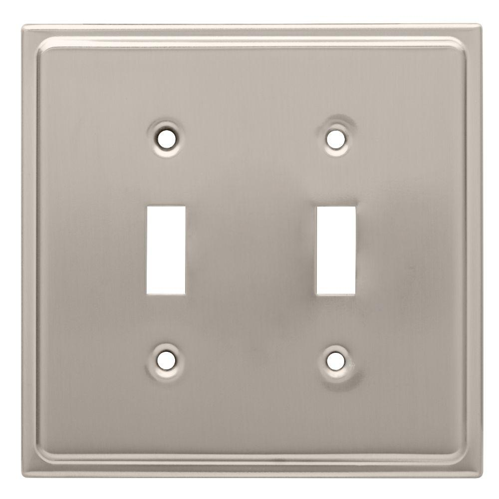 Country Fair Decorative Double Switch Plate, Satin Nickel