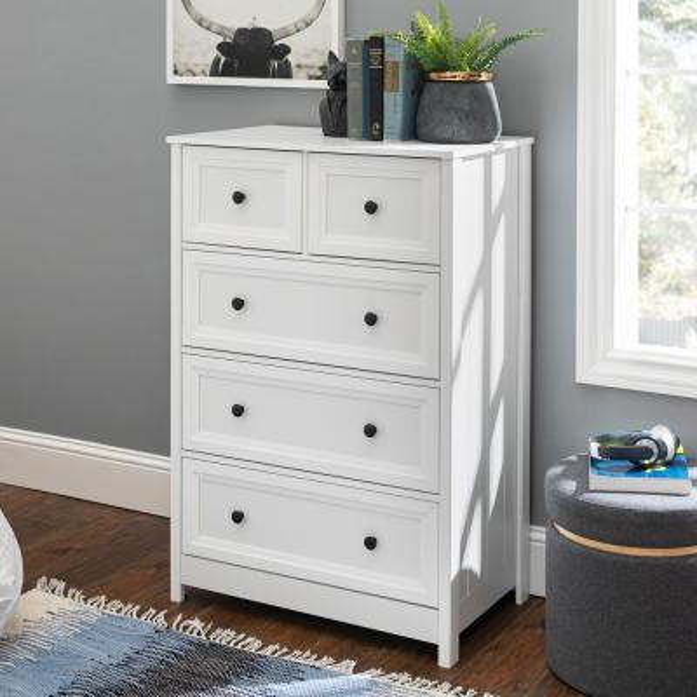 Classic 5-Drawer White Groove Dresser