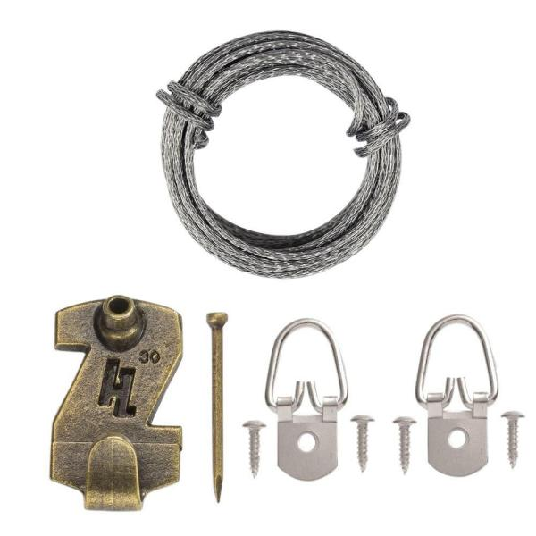1 Hole D Ring Wire Picture Hanging Kit (7-Piece)