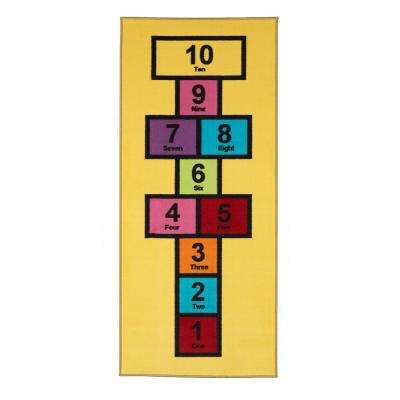 Children Garden's Collection Yellow Educational Titled Hopscotch Design 2 ft. 7 in. x 6 ft. Non-Slip Kids Runner Rug