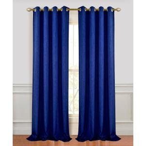Madison 96 inch L Polyester Extra Long and Wide Linen Look Window Curtain Panel Pair in Navy (2-Pack) by