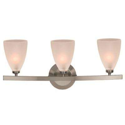 Sydney 3 Light Matte Chrome Vanity Light with Frosted Glass Shade