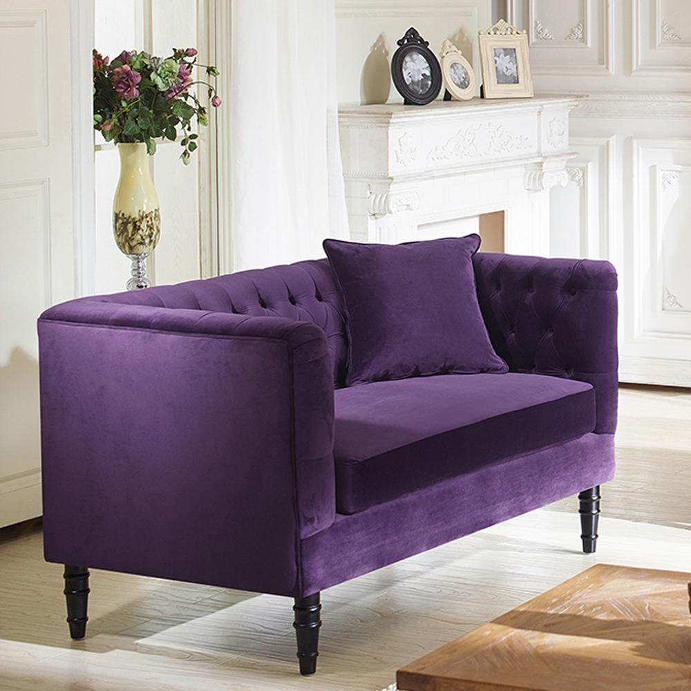 Rylee Contemporary Purple Fabric Upholstered Loveseat