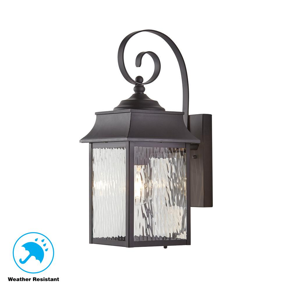 Home Decorators Collection Scroll 1 Light Black Outdoor Small Wall