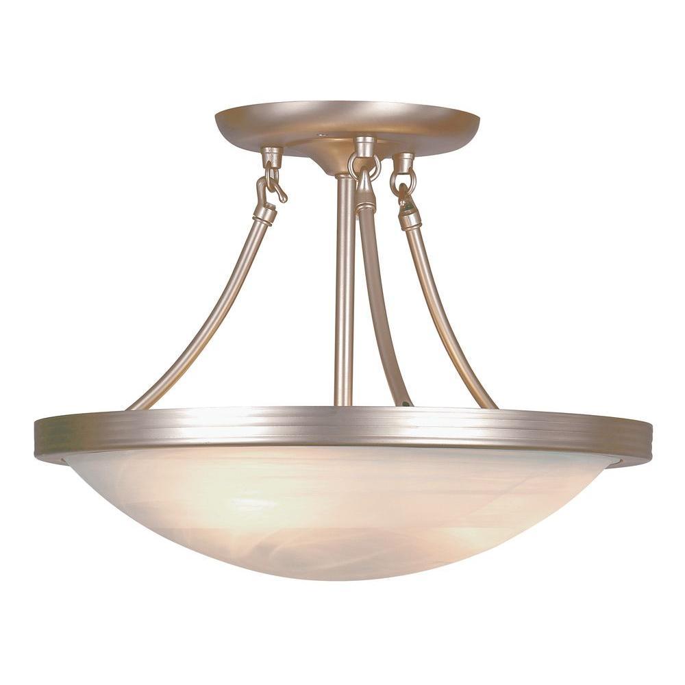 Bel Air Lighting Stewart 3-Light Brushed Nickel Incandescent Semi-Flush Mount Light