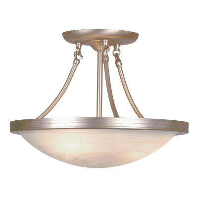 Stewart 3-Light Brushed Nickel Incandescent Semi-Flush Mount Light