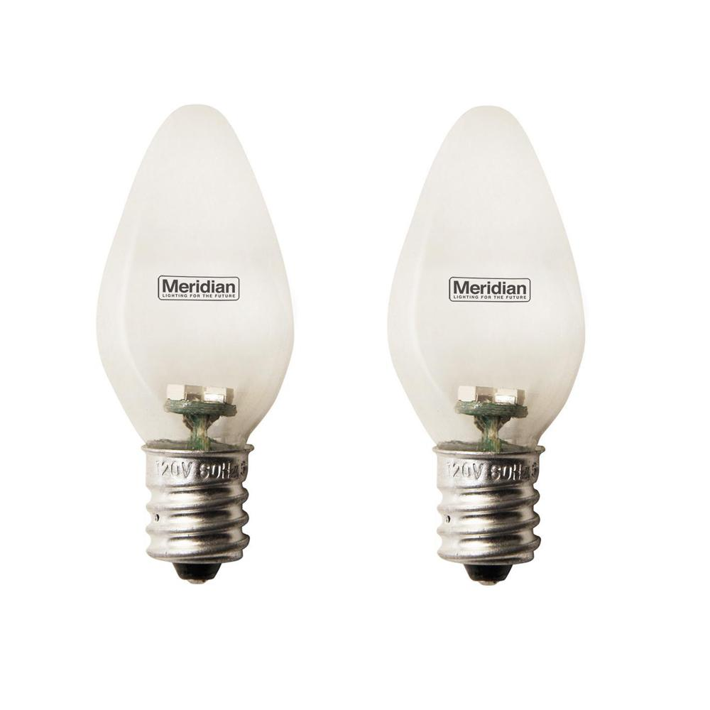 Meridian 4-Watt Equivalent Red C7 LED Light Bulb (2-Pack) Meridian 4-Watt Equivalent General Purpose Red C7 LED Light Bulbs 2-Pack. Meridian C7 Light Bulbs are designed for nightlights, appliances, accent, task and general lighting. Using the latest energy saving technology, these bulbs are energy saving and cool to the touch.