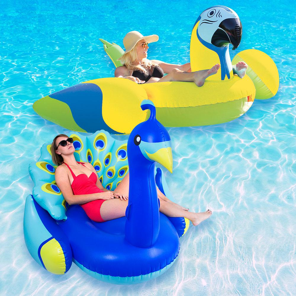 Margaritaville Yellow Parrot Head and Giant Peacock Swimming Pool Float Combo