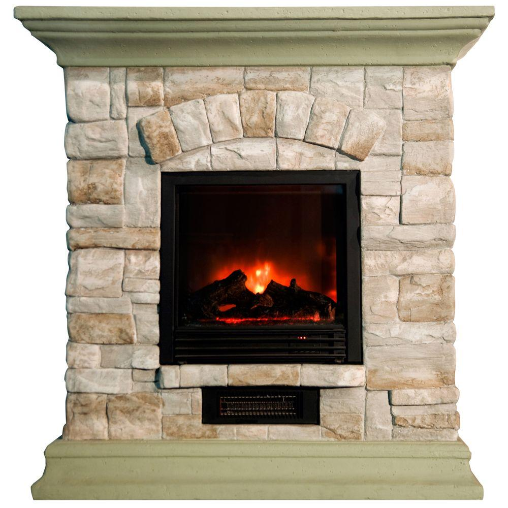 Yosemite Home Decor 40 in. Electric Fireplace in Beige Stackstone-DISCONTINUED