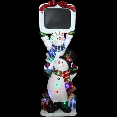5 ft. Christmas Stacking Snowman Pair with Long-Lasting LED Lights and Chalkboard