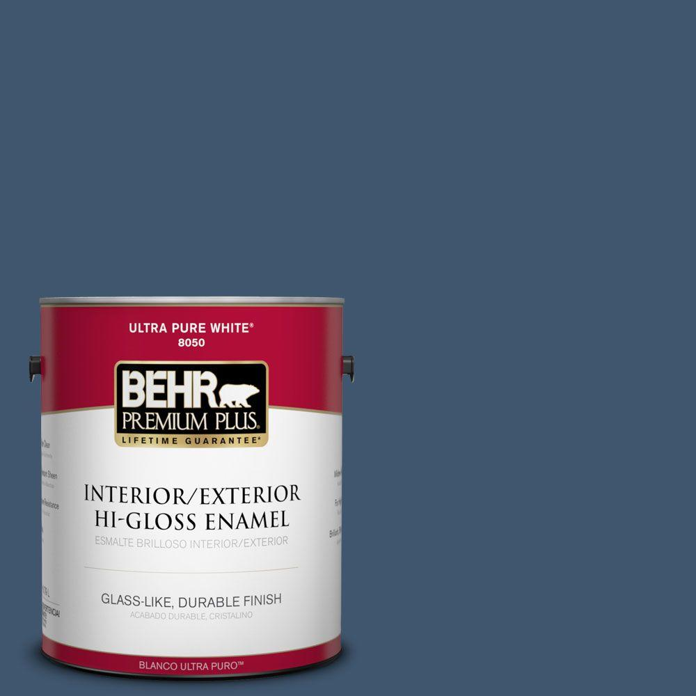 BEHR Premium Plus 1-gal. #BXC-24 Atlantic Tide Hi-Gloss Enamel Interior/Exterior Paint