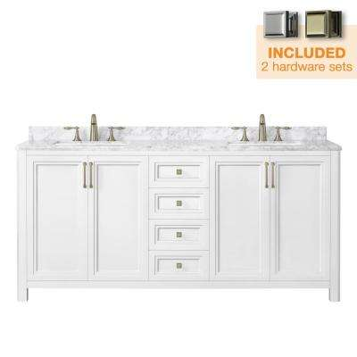 Sandon 72 in. W x 22 in. D Bath Vanity in White with Marble Vanity Top in Carrara White with White Basin