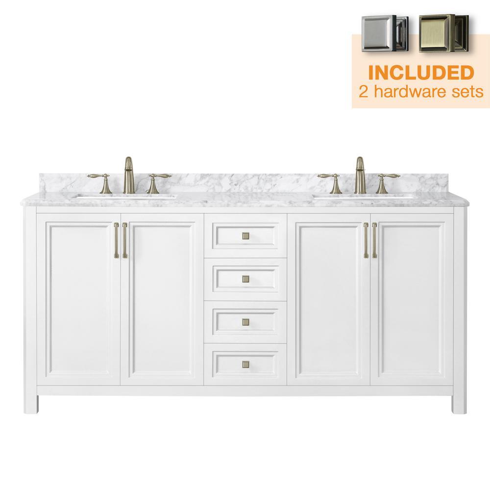 Sandon 72 in. W x 22 in. D Bath Vanity in White with Marble Vanity Top in Carrara White with White Basin