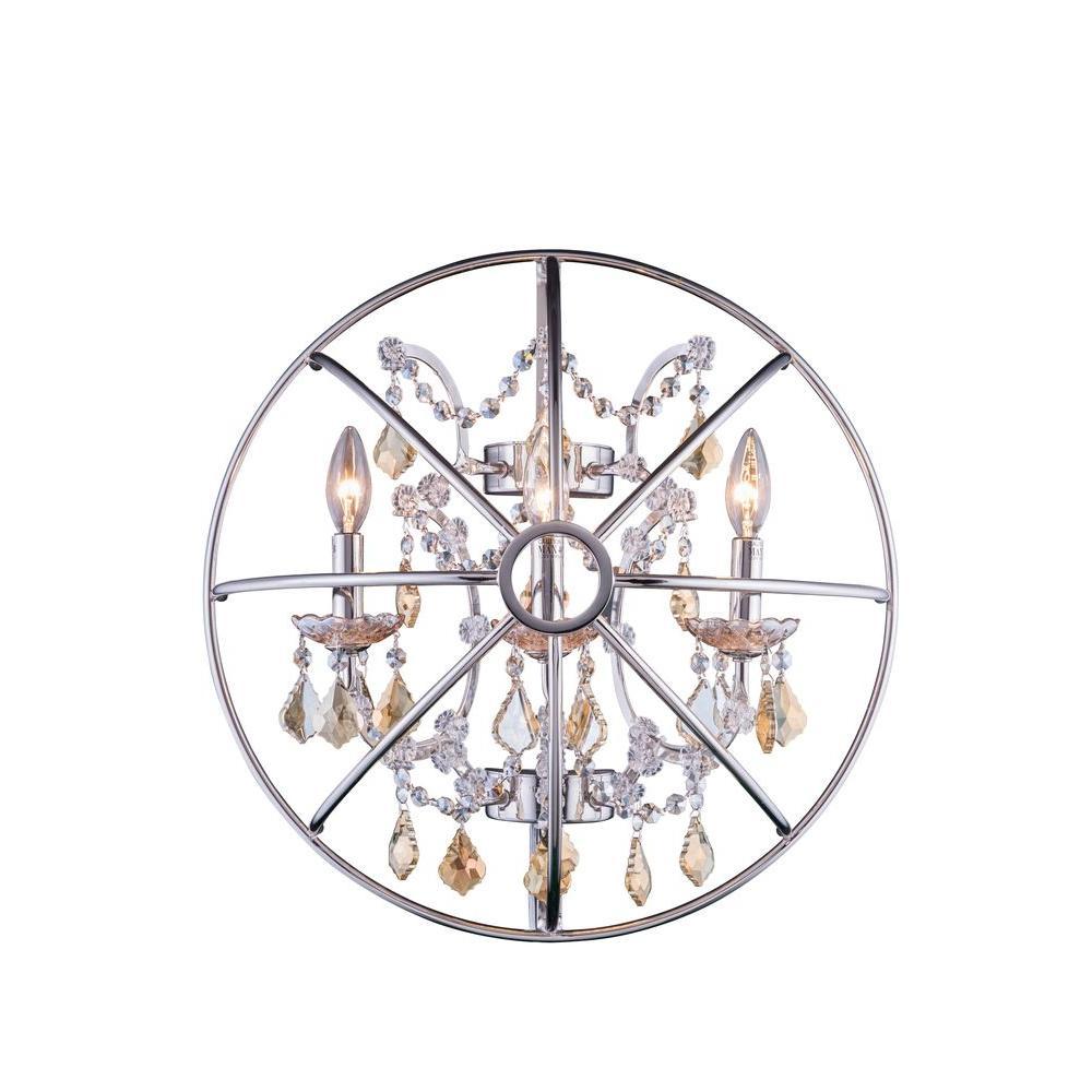 Geneva 3-Light Polished Nickel Sconce with Golden Teak Smoky Crystal