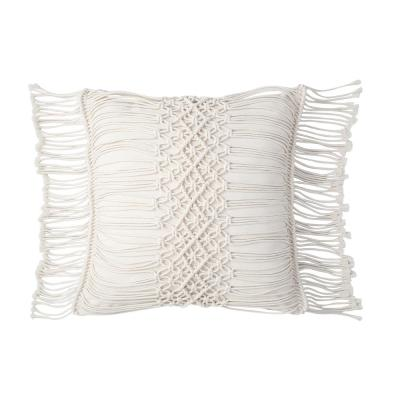 Shahi 18 in. Hand Crafted Crochet Ivory Standard Throw Pillow